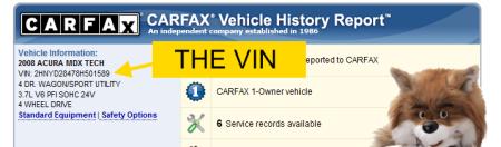 vin в отчете Carfax